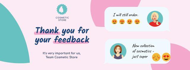 Customer Reviews of Cosmetic Store Facebook cover Modelo de Design