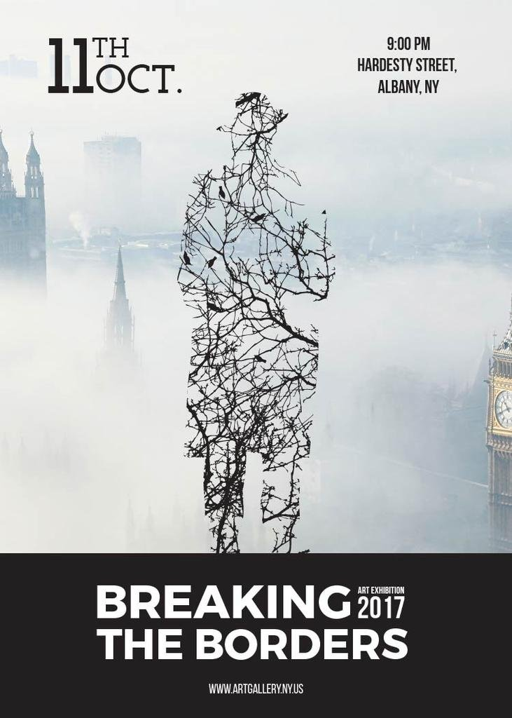 Breaking the borders exhibition poster — Create a Design