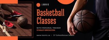 Sport Classes Ad Basketball Player with Ball | Facebook Cover Template