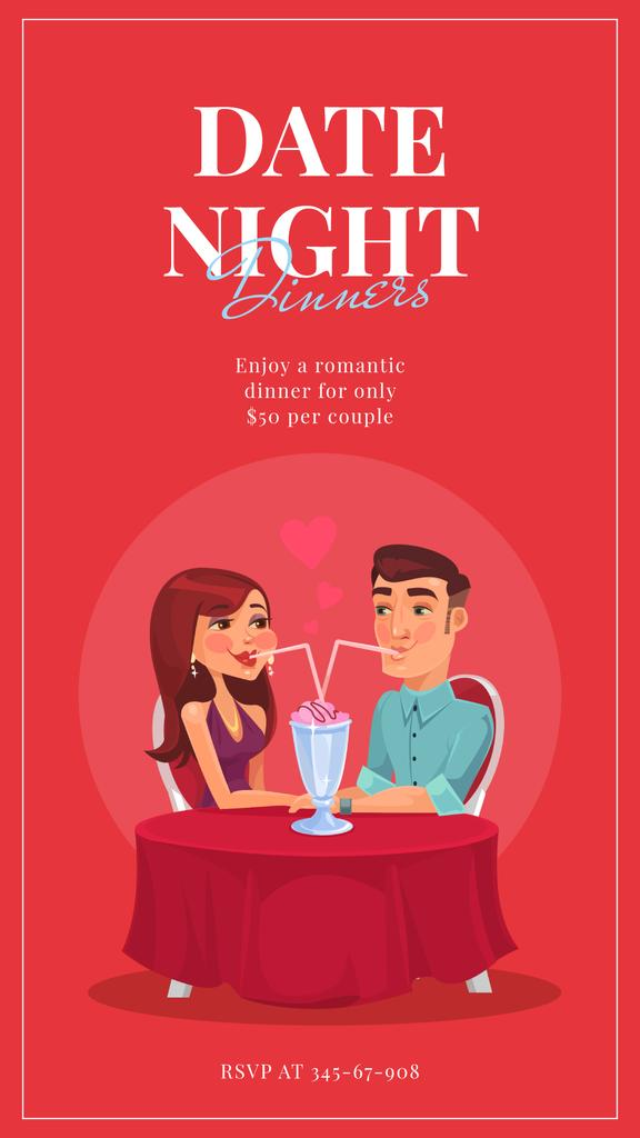 Couple of lovers drinking cocktail on St.Valentine's Day Instagram Storyデザインテンプレート
