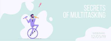 Plantilla de diseño de Businessman juggling on unicycle Facebook Video cover