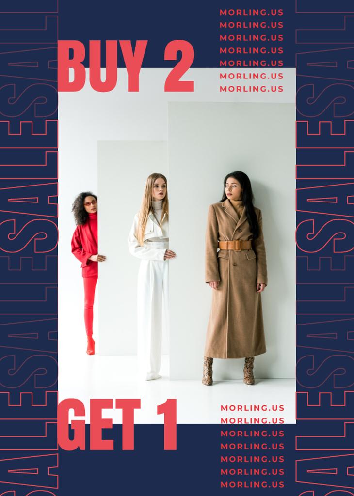 Fashion Offer Women in Stylish Outfits in Studio — Создать дизайн