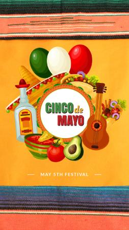 Cinco de Mayo Mexican Festive Food Instagram Video Story Modelo de Design