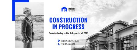 Real Estate Ad with Builder at Construction Site Facebook cover Modelo de Design