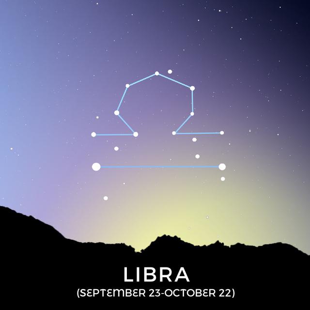 Plantilla de diseño de Night Sky With Libra Constellation Animated Post