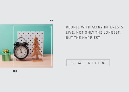 Plantilla de diseño de Inspirational Quote about Interests with alarm clock Postcard