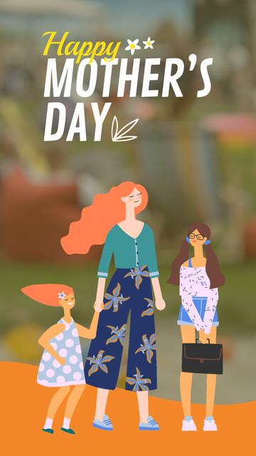 Modèle de visuel Mother's Day Happy Mom with Kids - Instagram Video Story