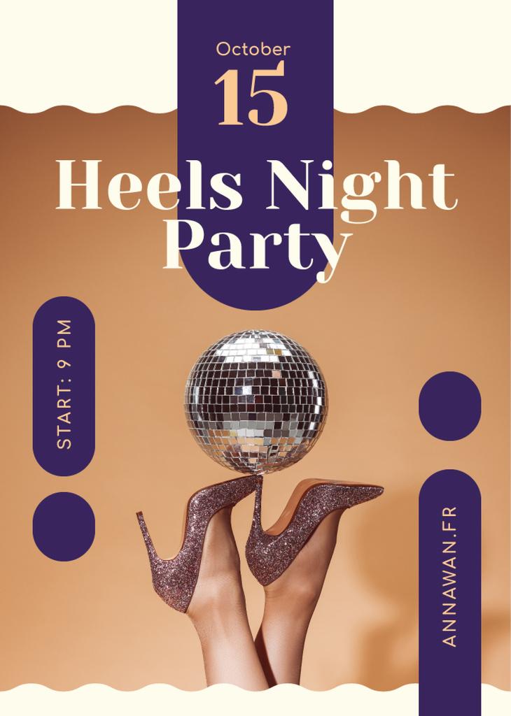 Night Party Invitation Female Legs in High Heels | Flyer Template — Створити дизайн