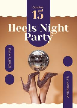 Night Party Invitation Female Legs in High Heels