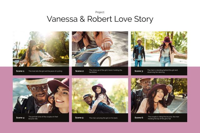 Love Story of Cute Couple on Bike Storyboard Design Template