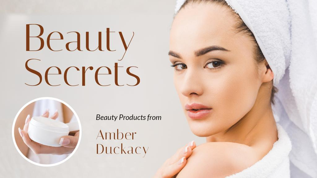 Beauty Secrets Woman Applying Cream | Youtube Thumbnail Template — Crear un diseño