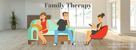 Ontwerpsjabloon van Facebook Video cover van Family Therapy Center Ad