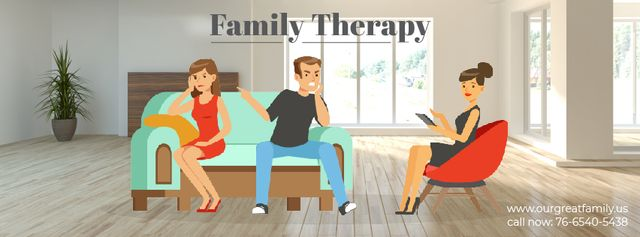 Ontwerpsjabloon van Facebook Video cover van Family Therapy Center Ad