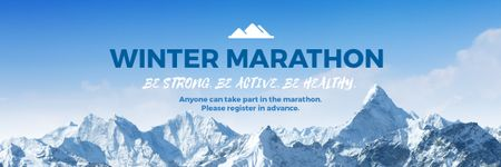 Winter Marathon Announcement with Snowy Mountains Email header – шаблон для дизайну