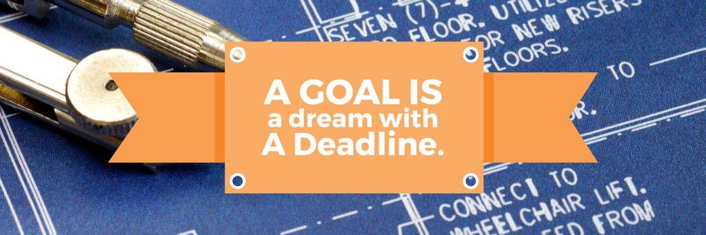 Goal Motivational Quote Blueprints and Compass — Crear un diseño