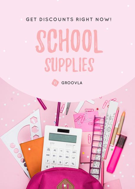 Ontwerpsjabloon van Flayer van Back to School Sale Stationery in Backpack