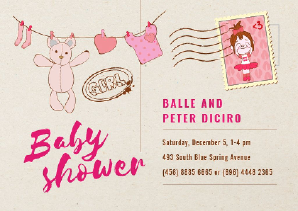 Baby Shower Invitation Hanging Toys in Pink — Create a Design