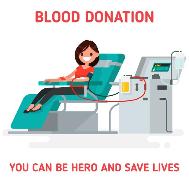 Ontwerpsjabloon van Animated Post van Woman donating blood