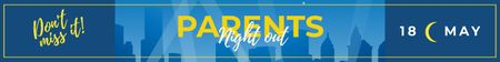 Ontwerpsjabloon van Leaderboard van Night out Invitation City Silhouettes