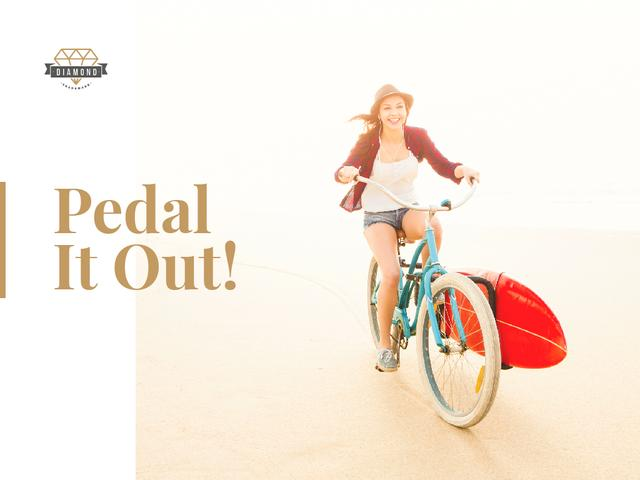 Template di design Young woman riding bicycle on seashore Presentation