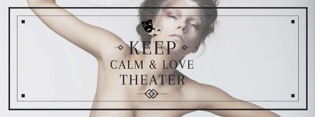 Theater Quote with Woman Performing in White Facebook cover Modelo de Design