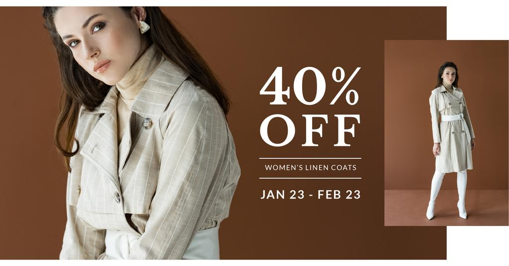 Fashion Sale with Woman in coat — Modelo de projeto