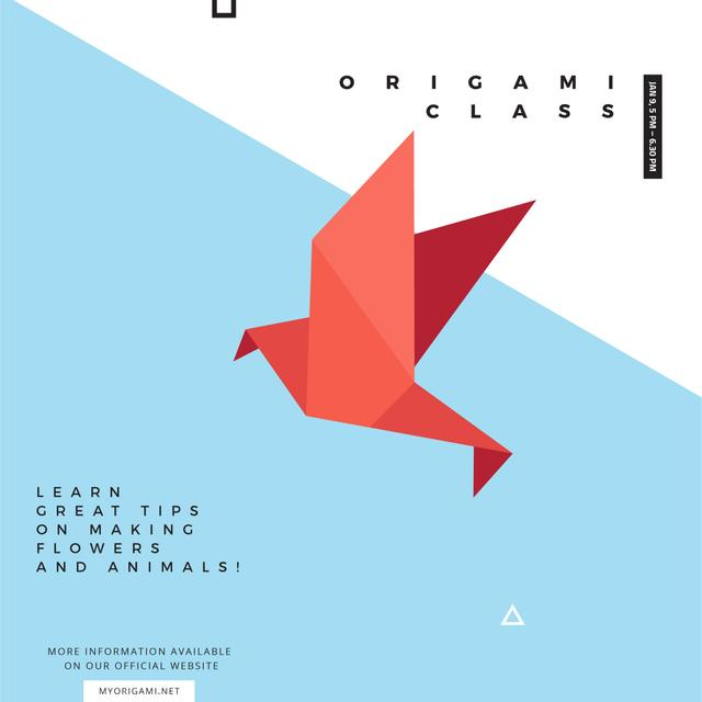 Origami Classes Invitation Paper Bird in Red Instagram AD – шаблон для дизайна