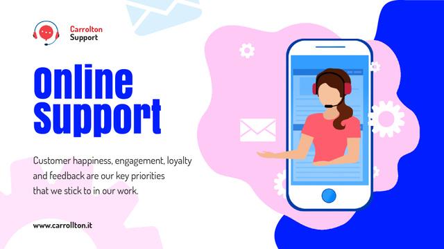 Online Customers Support Consultant on Phone Screen Full HD video Tasarım Şablonu
