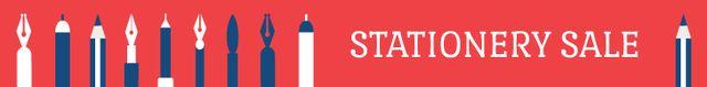 Modèle de visuel Stationery sale banner - Leaderboard