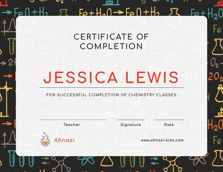 Template di design Chemistry Classes Completion confirmation with science icons Certificate