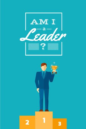 Business leadership concept Man with cup Tumblr Modelo de Design