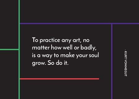 Citation about practice to any art Card – шаблон для дизайну