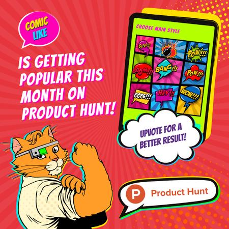 Product Hunt Campaign App Interface on Screen Instagramデザインテンプレート