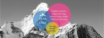 Hike Trip Announcement Scenic Mountains Peaks  | Facebook Cover Template