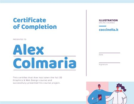 Online design Course Completion with happy students Certificateデザインテンプレート