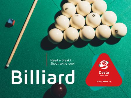 Billiard Club ad Balls on Table Presentation Modelo de Design