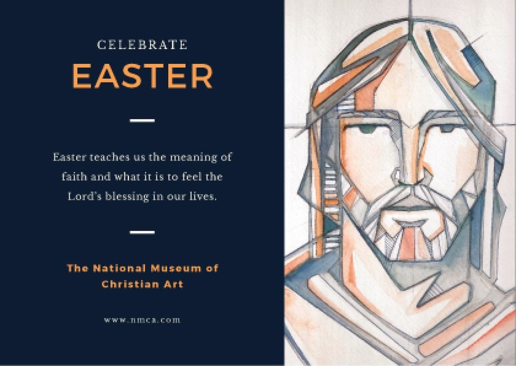 Ontwerpsjabloon van Postcard van Easter Day Invitation with Christ Portrait