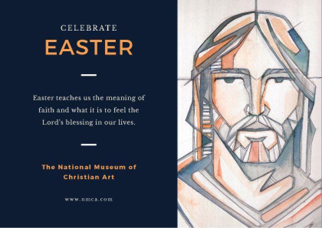 Easter Day Invitation with Christ Portrait Postcard Tasarım Şablonu