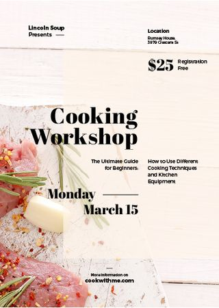 Cooking Workshop ad with raw meat Invitation Modelo de Design