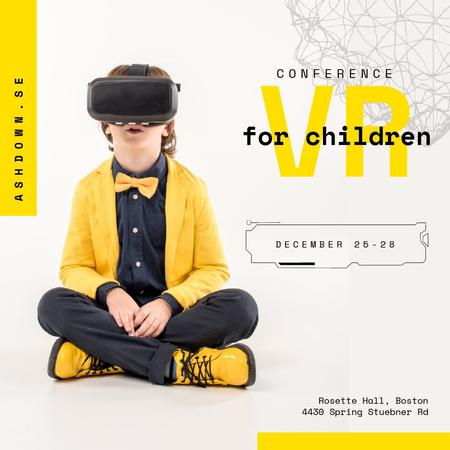 Boy in VR glasses in Yellow clothes Animated Postデザインテンプレート