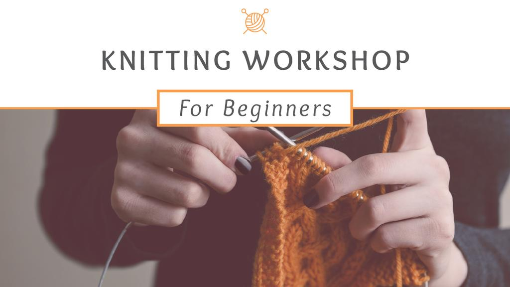 Knitting Workshop Announcement Woman Knitting Garment | Youtube Thumbnail Template — Создать дизайн