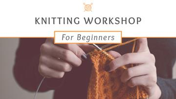 Knitting Workshop Announcement Woman Knitting Garment | Youtube Thumbnail Template