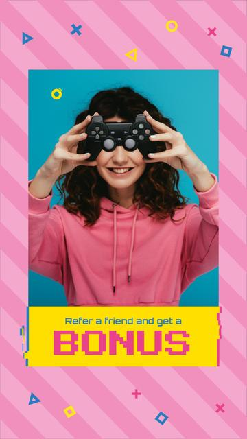 Plantilla de diseño de Girl Holding Video Games Gamepad Instagram Video Story