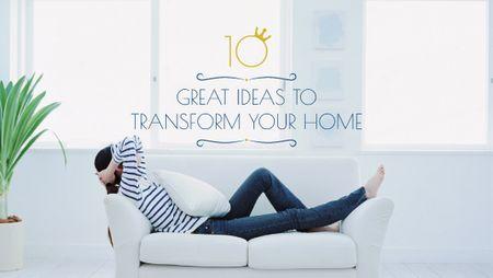Modèle de visuel Home Decor ideas Woman Resting on Sofa - Title