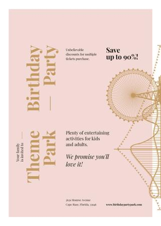 Plantilla de diseño de Birthday Party in Amusement park Invitation