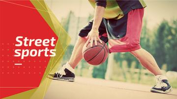 street sport background with young man playing basketball