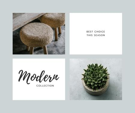 Furniture Store ad with Chair and plant Facebook Design Template