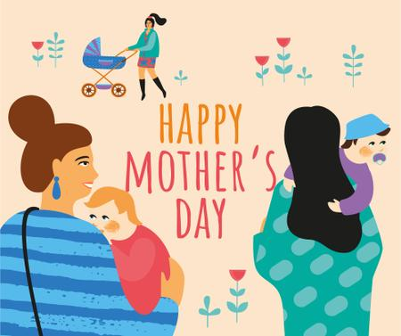Happy Moms with kids on Mother's Day Facebook Modelo de Design
