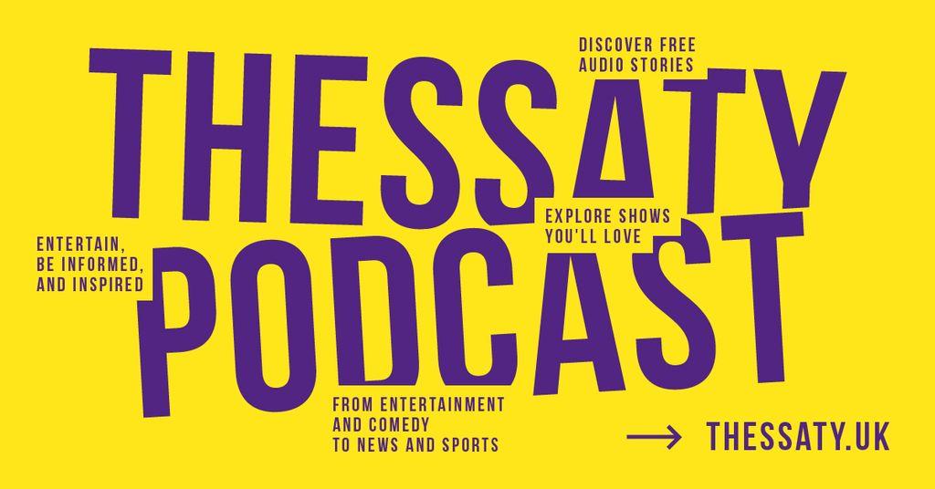 Radio Podcast Ad Inscription on Yellow | Facebook Ad Template — Створити дизайн