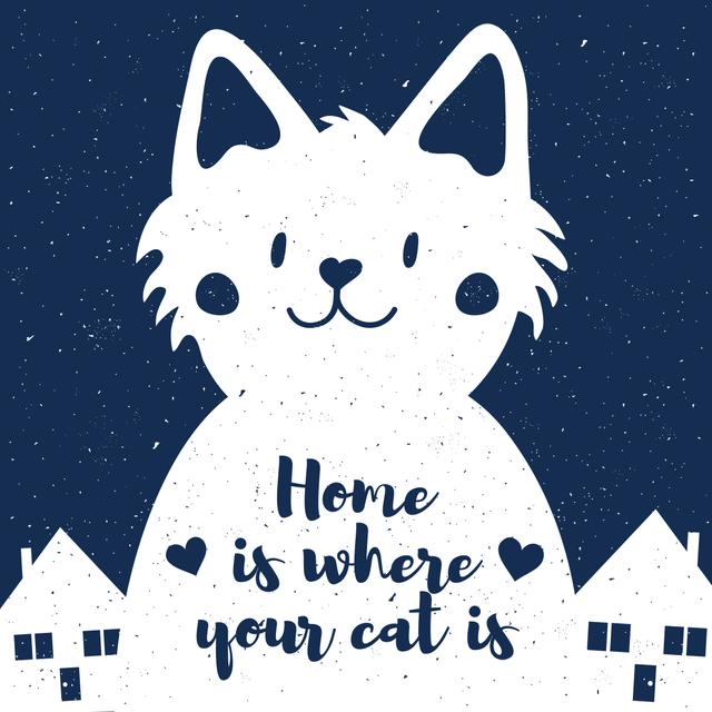 Modèle de visuel Cute Cat and Houses at Night - Instagram